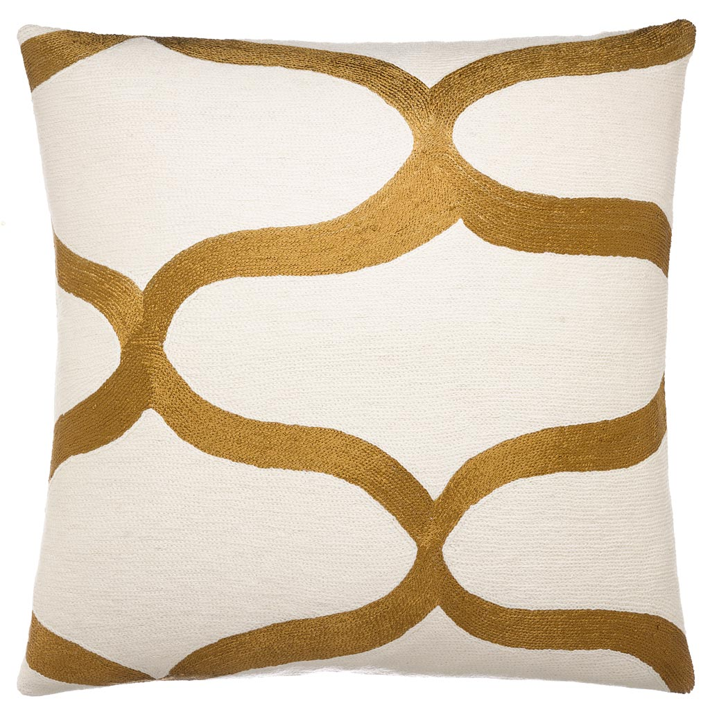 Decorative Pillows White And Gold : Hand-Embroidered Chain Stitch Pillows: 18x18 :: Waves :: Judy Ross Textiles