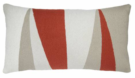 Judy Ross Textiles Hand-Embroidered Chain Stitch Blade 14x24 Cream Throw Pillow coral/oyster