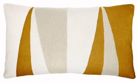 Judy Ross Textiles Hand-Embroidered Chain Stitch Blade 14x24 Throw Pillow cream/oyster/gold rayon