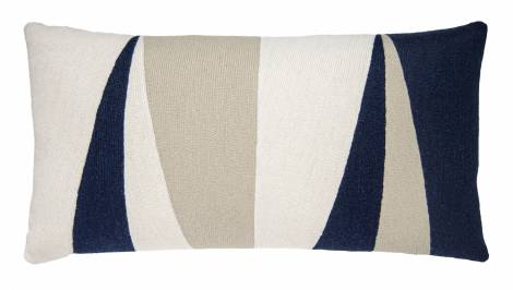 Judy Ross Textiles Hand-Embroidered Chain Stitch Blade 14x24 Throw Pillow cream/navy/oyster