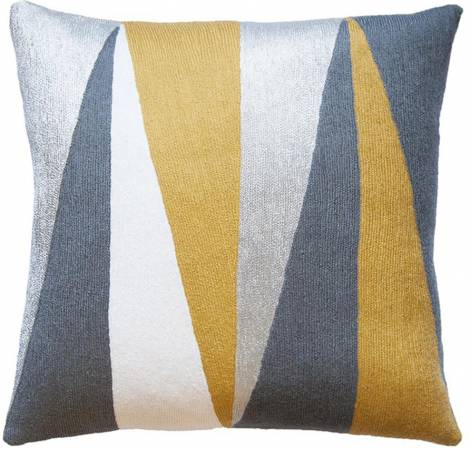 Judy Ross Textiles Hand-Embroidered Chain Stitch Blade Throw Pillow cream/curry/dark grey/fog rayon