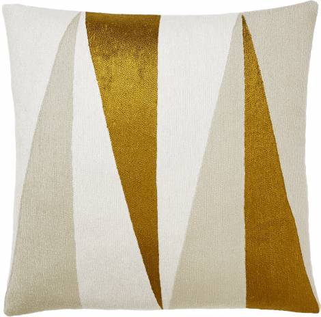 Judy Ross Textiles Hand-Embroidered Chain Stitch Blade Throw Pillow cream/oyster/gold rayon