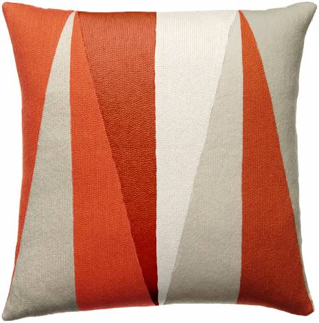 Judy Ross Textiles Hand-Embroidered Chain Stitch Blade Throw Pillow oyster/coral/cream