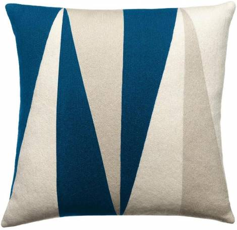 Judy Ross Textiles Hand-Embroidered Chain Stitch Blade Throw Pillow tropical blue/cream/oyster