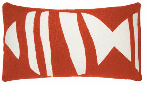 Judy Ross Textiles Hand-Embroidered Chain Stitch Boca 14x24 Throw Pillow coral