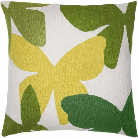 Judy Ross Textiles Hand-Embroidered Chain Stitch Butterflies Throw Pillow cream/yellow/spring green/asparagus/lime