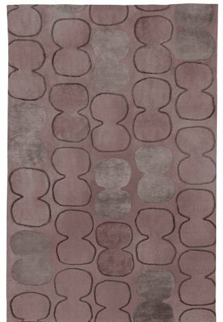 Judy Ross Hand-Knotted Custom Wool Tabla Outlined Rug mulberry/cement/raisin