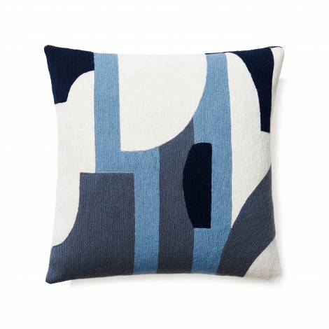Judy Ross Textiles Hand-Embroidered Chain Stitch COMPOSITION Throw Pillow cream/cornflower/slate/navy