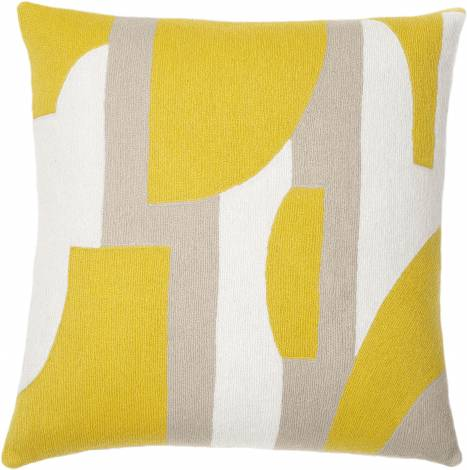 Judy Ross Textiles Hand-Embroidered Chain Stitch Composition Throw Pillow cream/yellow/oyster