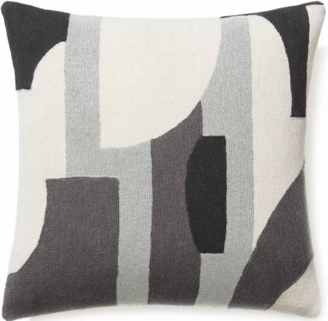 Judy Ross Textiles Hand-Embroidered Chain Stitch Composition Throw Pillow cream/ice/dark grey/charcoal