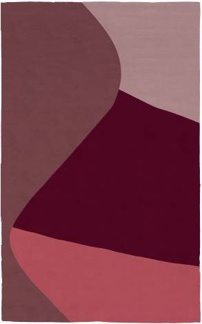 Judy Ross Hand-Knotted Custom Wool Curve Rug salmon/rose/mulberry/burgundy