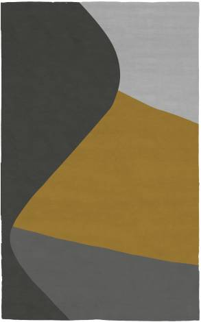Judy Ross Hand-Knotted Custom Wool Curve Rug charcoal/buttercup/black/fog