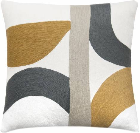Judy Ross Textiles Hand-Embroidered Chain Stitch ECLIPSE Throw Pillow cream/dark grey/curry/smoke