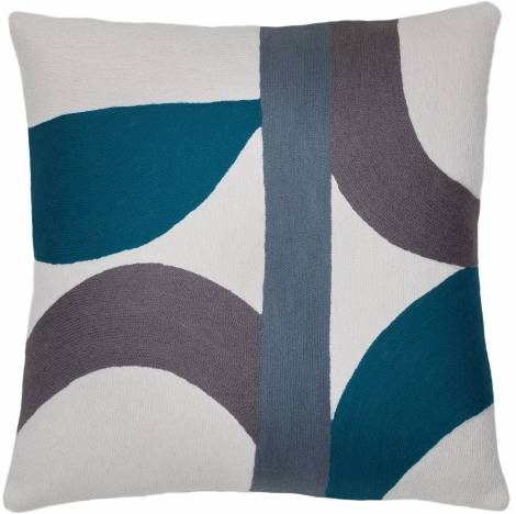 Judy Ross Textiles Hand-Embroidered Chain Stitch Eclipse Throw Pillow cream/slate/dark grey/tropical blue
