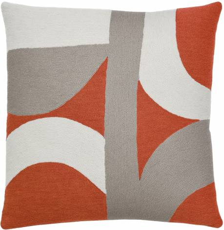 Judy Ross Textiles Hand-Embroidered Chain Stitch Eclipse Throw Pillow coral/cream/smoke
