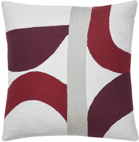 Judy Ross Textiles Hand-Embroidered Chain Stitch Eclipse Throw Pillow cream/berry/rouge/oyster