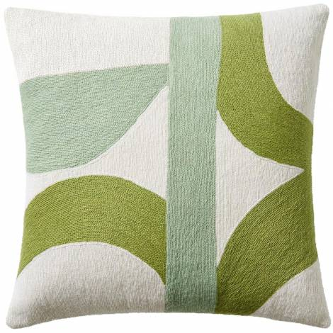 Judy Ross Textiles Hand-Embroidered Chain Stitch Eclipse Throw Pillow cream/spring green/celery