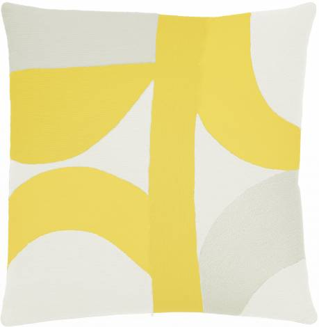 Judy Ross Textiles Hand-Embroidered Chain Stitch Eclipse Throw Pillow cream/yellow/oyster