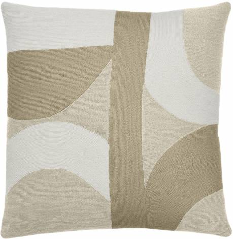Judy Ross Textiles Hand-Embroidered Chain Stitch Eclipse Throw Pillow wheat/cream/blonde