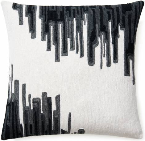 Judy Ross Textiles Hand-Embroidered Chain Stitch IKAT Throw Pillow cream/dark grey/charcoal/black