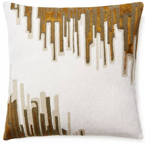 Judy Ross Textiles Hand-Embroidered Chain Stitch IKAT Throw Pillow cream/oyster/smoke/gold rayon