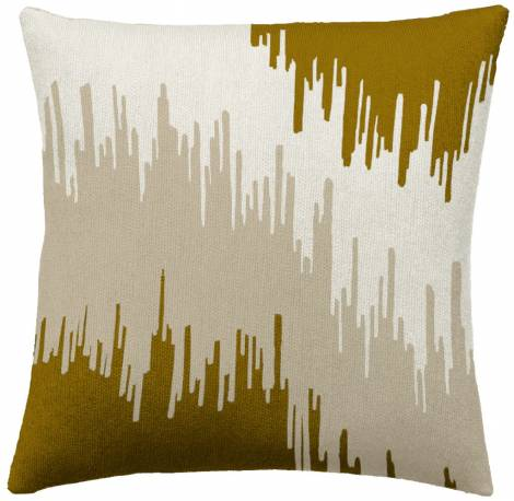 Judy Ross Textiles Hand-Embroidered Chain Stitch Ikat Bands Throw Pillow cream/gold rayon/oyster