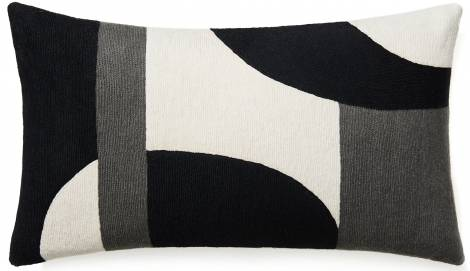 Judy Ross Textiles Hand-Embroidered Chain Stitch Luna Throw Pillow cream/black/dark grey