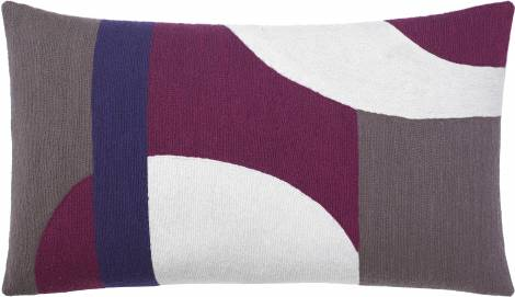 Judy Ross Textiles Hand-Embroidered Chain Stitch LUNA Throw Pillow cream/purple/mauve/claret