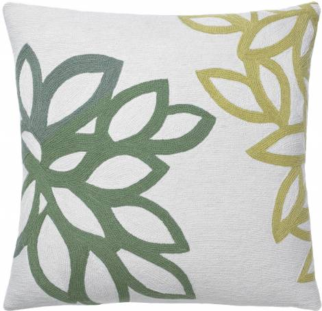 Judy Ross Textiles Hand-Embroidered Chain Stitch Lagoon Throw Pillow cream/spearmint/mint/pollen