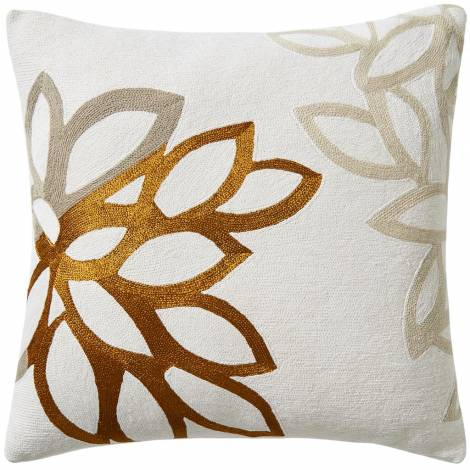 Judy Ross Textiles Hand-Embroidered Chain Stitch Lagoon Throw Pillow cream/gold rayon/oyster/smoke