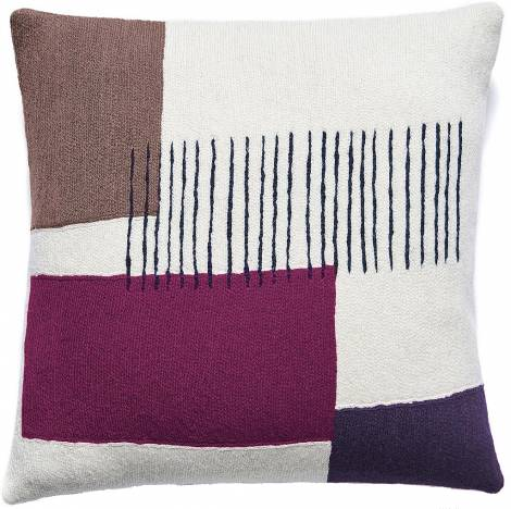 Judy Ross Textiles Hand-Embroidered Chain Stitch Level Throw Pillow cream/mauve/purple/claret