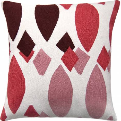 Judy Ross Textiles Hand-Embroidered Chain Stitch Marquise Throw Pillow cream/orchid/berry/dusty pink