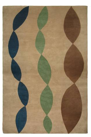 Judy Ross Hand-Knotted Custom Wool NECKLACE Rug blonde/tropical blue/mint/pecan
