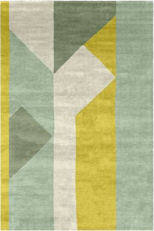 Judy Ross Hand-Knotted Custom Wool Perspective Rug cream/celery/spring green/yellow