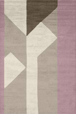 Judy Ross Hand-Knotted Custom Wool Perspective Rug dusty pink/blonde/cream/stone
