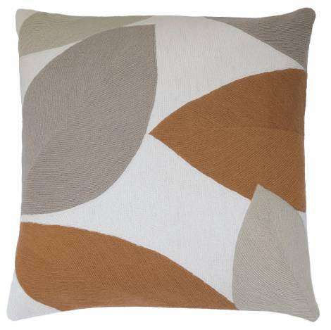 Judy Ross Textiles Hand-Embroidered Chain Stitch Petal Throw Pillow cream/oyster/smoke/amber