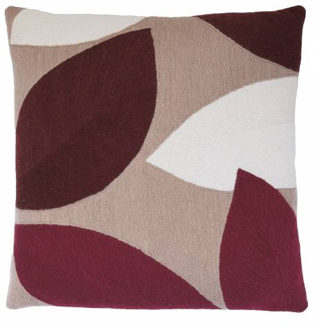Judy Ross Textiles Hand-Embroidered Chain Stitch Petal Throw Pillow mushroom/cream/merlot/berry