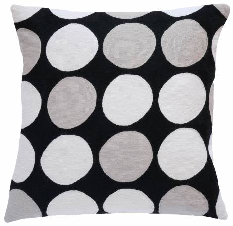 Judy Ross Textiles Hand-Embroidered Chain Stitch Polkadot Throw Pillow black/ice/cream