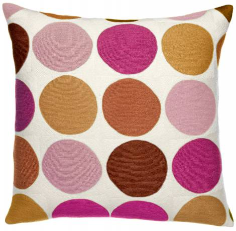 Judy Ross Textiles Hand-Embroidered Chain Stitch Polkadot Throw Pillow cream/amber/sierra/cerise/spice/dusty pink