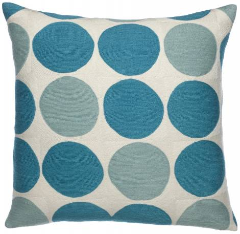 Judy Ross Textiles Hand-Embroidered Chain Stitch Polkadot Throw Pillow cream/pool/peacock