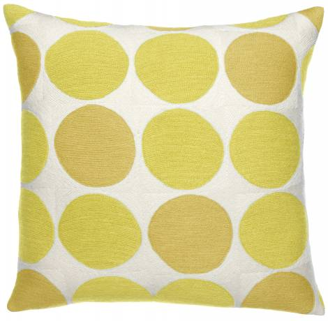 Judy Ross Textiles Hand-Embroidered Chain Stitch Polkadot Throw Pillow cream/yellow/buttercup