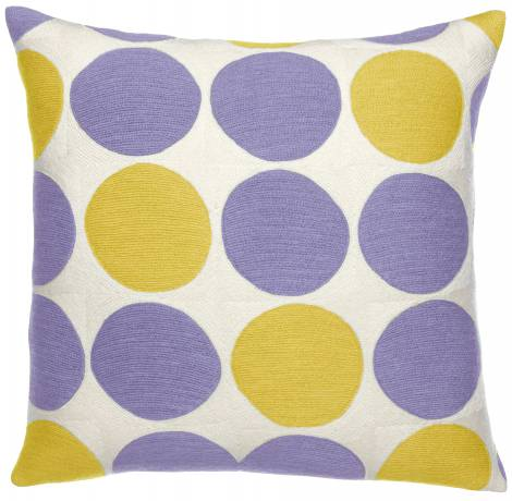 Judy Ross Textiles Hand-Embroidered Chain Stitch Polkadot Throw Pillow cream/yellow/syren