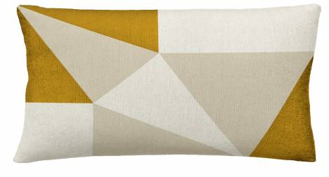Judy Ross Textiles Hand-Embroidered Chain Stitch Prism 14x24 Throw Pillow cream/oyster/gold rayon