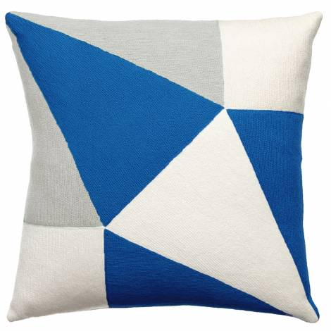 Judy Ross Textiles Hand-Embroidered Chain Stitch Prism Throw Pillow cream/ice/marine
