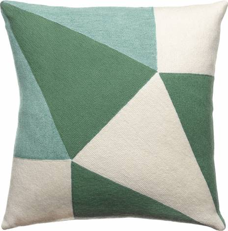 Judy Ross Textiles Hand-Embroidered Chain Stitch Prism Throw Pillow cream/pine/pool