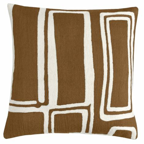 Judy Ross Textiles Hand-Embroidered Chain Stitch Procession Throw Pillow chestnut/cream