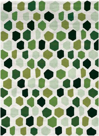 Judy Ross Hand-Knotted Custom Wool Quartz Rug cream/celery/asparagus/lime/spring green/hunter