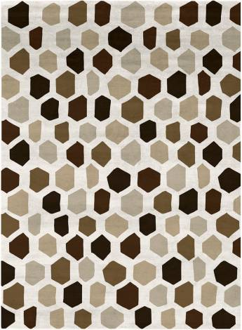 Judy Ross Hand-Knotted Custom Wool Quartz Multi Rug cream/chocolate/clove/pecan/blonde