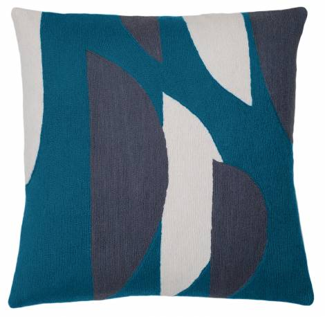 Judy Ross Textiles Hand-Embroidered Chain Stitch Slice Throw Pillow tropical blue/cream/slate