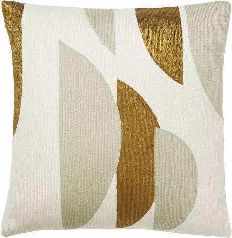 Judy Ross Textiles Hand-Embroidered Chain Stitch Slice Throw Pillow cream/oyster/gold rayon